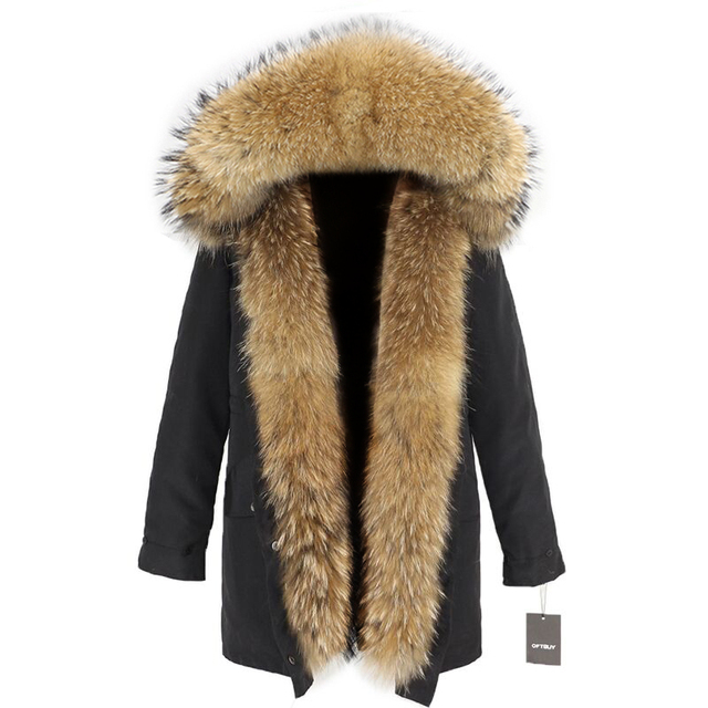 OFTBUY Impermeável Longo Parka Mulheres Jaqueta de Inverno Casaco De Pele Verdadeira Grande Natural Raccoon Fur Capuz Streetwear Outerwear Destacável Novo