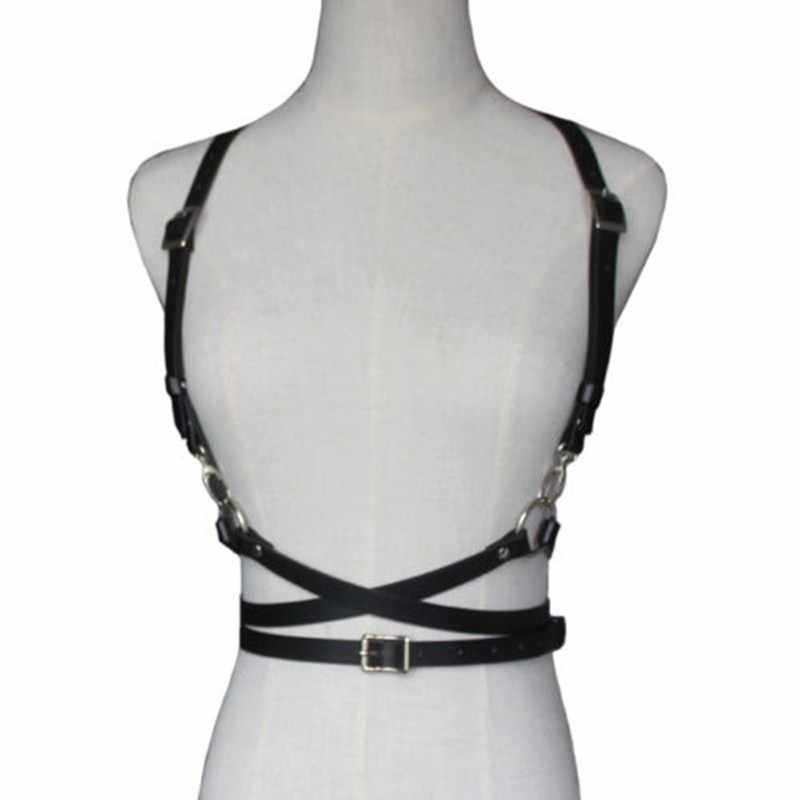 Новый женский корсет ручной работы черный пояс для талии Холтер строгая обвязка ремень клубный искусственный кожаный костюм Связывание Пояс для чулок