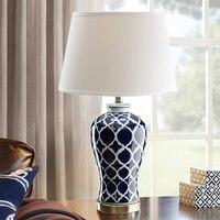 Китайский Синий Керамика настольная лампа для ресторана Гостиная Спальня оформлены настольные лампы ваза белого и синего цвета лампы