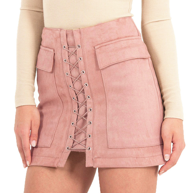 Smoves High Waist External Pocket Tight Suede Lace Up Mini Skirt