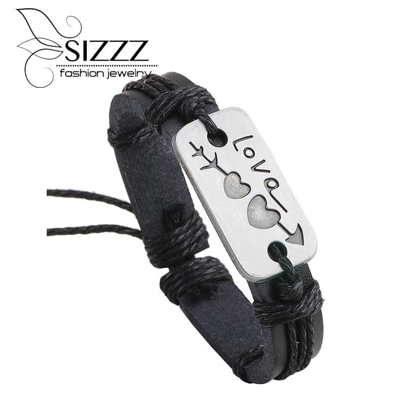 2016 new love Bracelet Arrow Heart Leather lover Bracelets handmade Accessories Valentine gift