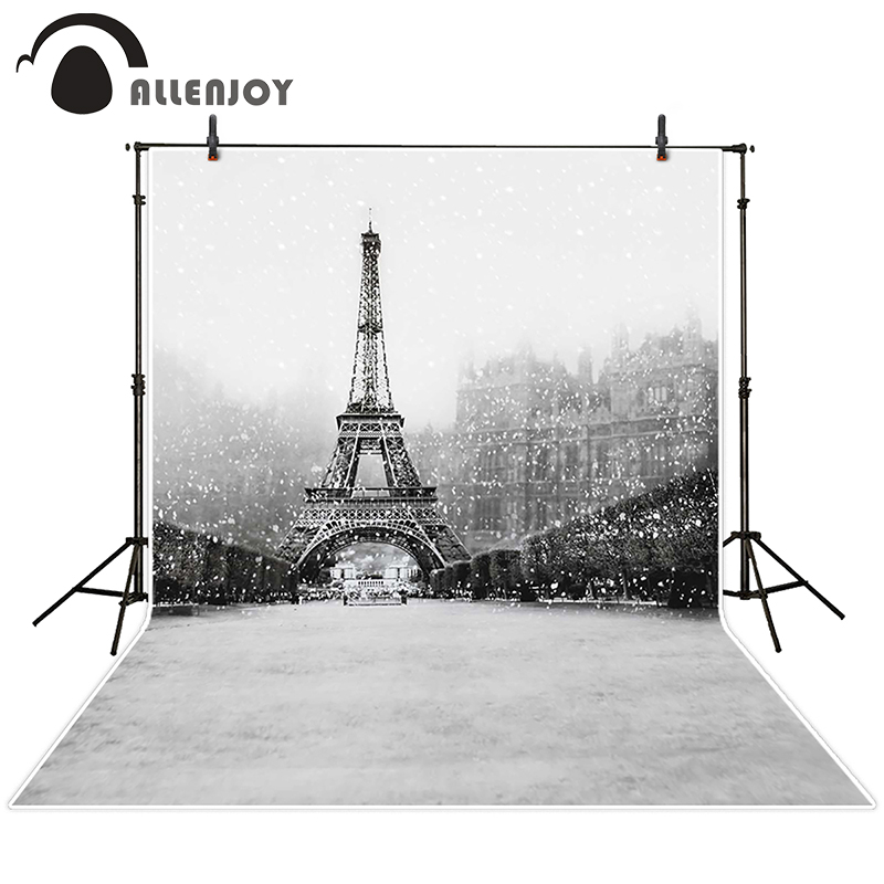 Allenjoy photographic background Black and white snow Tower Street backdrops boy christmas props summer 150x200cm