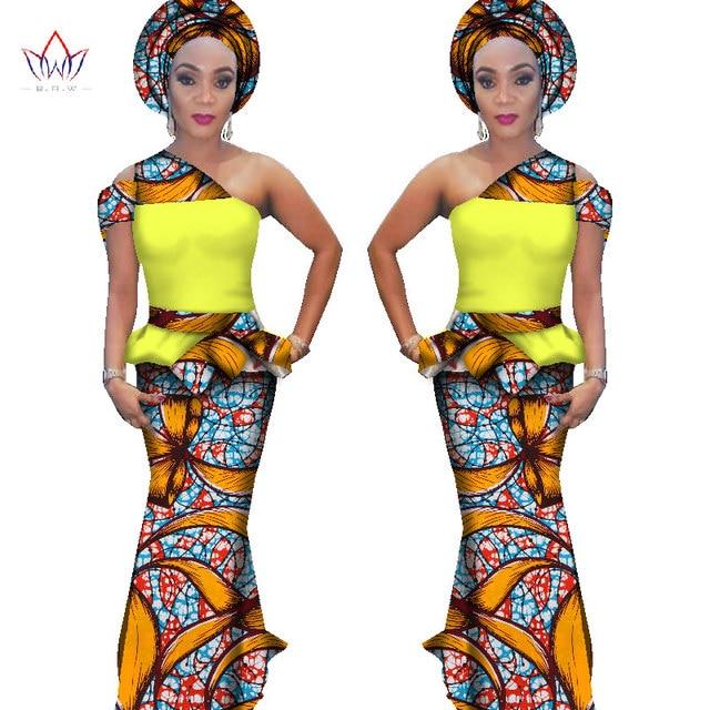 7ed41da3240 2017 BRW Ankara Fashions Two Pieces Set for Women Crop Tops   Skirt Sets Plus  Size