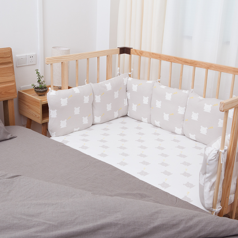 HOUSBAY Baby Bed Bumper 100% Cotton Baby Bedding Set Nordic Style Crib Bumper and Kids Chair Cushion Sofa Cushion with Gift Box