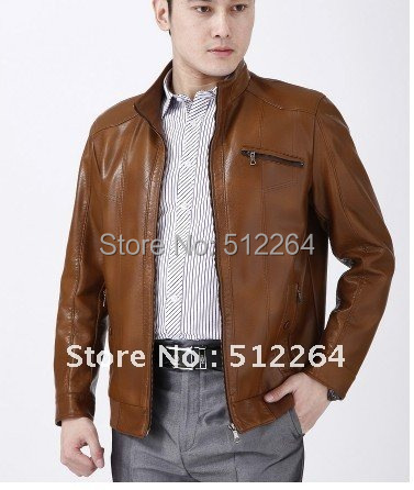 New 2017 Business leisure brief paragraph the Men Leather Jacket Plus Size M-XXXL Free shipping