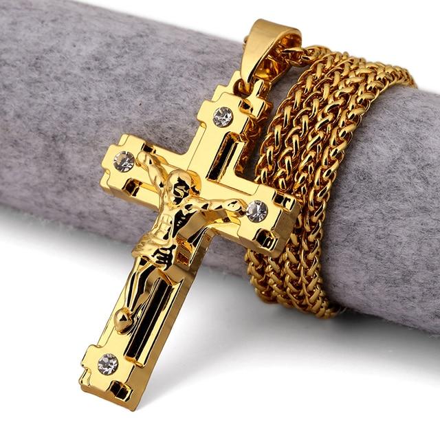 NYUK 10pcs Lot Cross Men Gold Jesus Cross Jewelry Jesus Portrait Necklace  Chain Women Christian Accessories Kedis Crucifix Gift a9ec77f21994