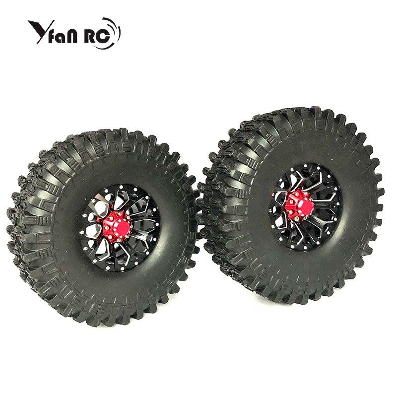 yfan rc 4Pcs 1 9 Beadlock Wheel Rim 1 9 Rubber Tires Set for 1 10