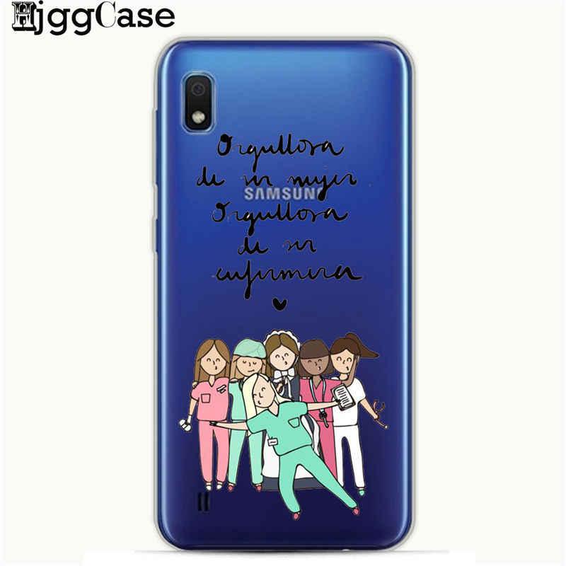 Spanyol Kartun Obat Dokter Perawat Phone Case untuk Samsung Galaxy A10 A20 A30 A50 A70 A6 A8 A7 A9 2018 a5 2017 S10 S8 S9 Kasus
