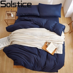 Solstice Textile New Product Solid Color 4 Pcs Bedding Set Microfiber Bedclothes Navy Blue Bed Linens Duvet Cover Set Bed Sheet(China)