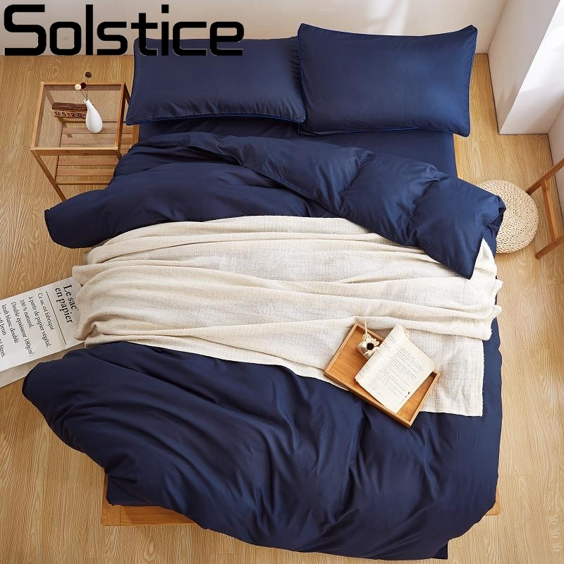 Solstice Textile New Product Solid Color 4 Pcs Bedding Set Microfiber Bedclothes Navy Blue Bed Linens Duvet Cover Set Bed Sheet