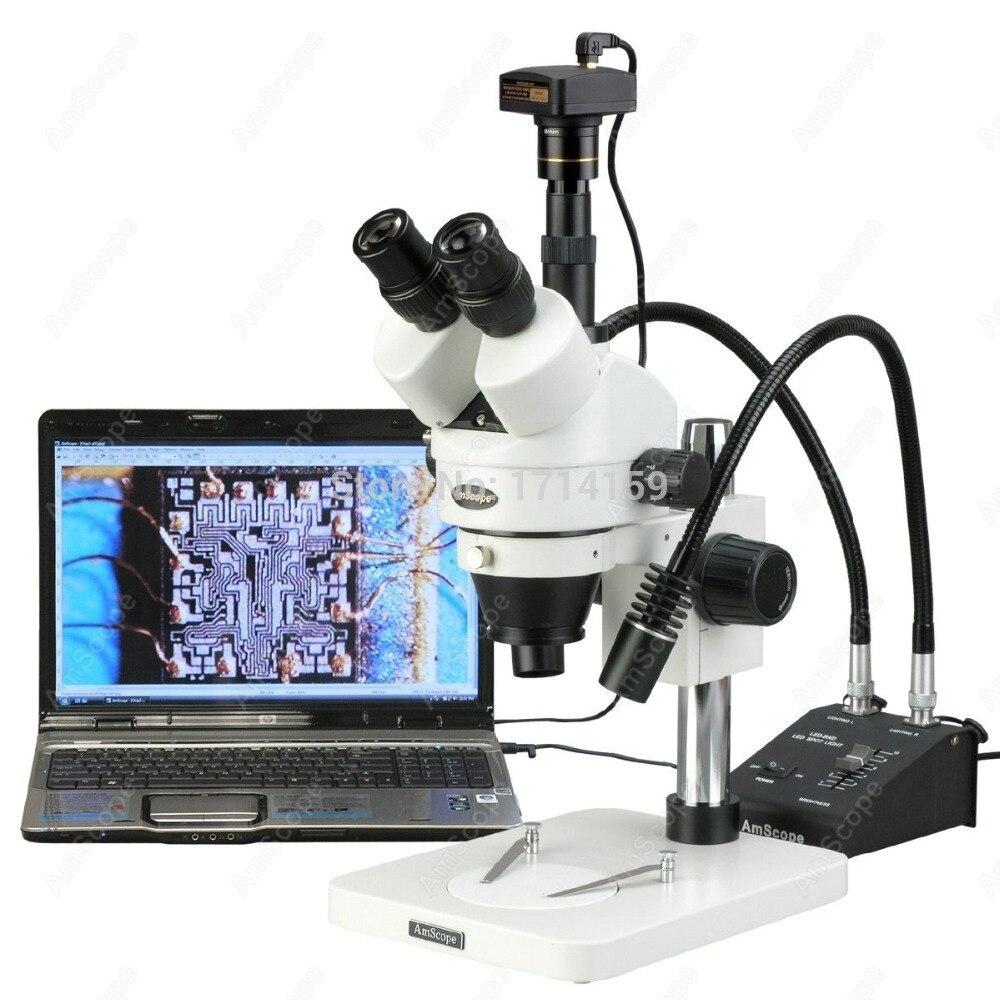 AmScope Suuplies 7X 45X LED Two Gooseneck Light Zoom Stereo font b Microscope b font 9MP