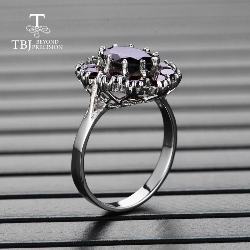 Image 2 - TBJ,925 sterling silver natural gemstone black garnet rings fine  jewelry for woman and girl anniversary