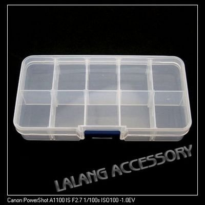 12pcs/lot White Plastic Boxes 10-checks Jewelry Cases Beads Display 13.4*7.2*2.4cm 120309