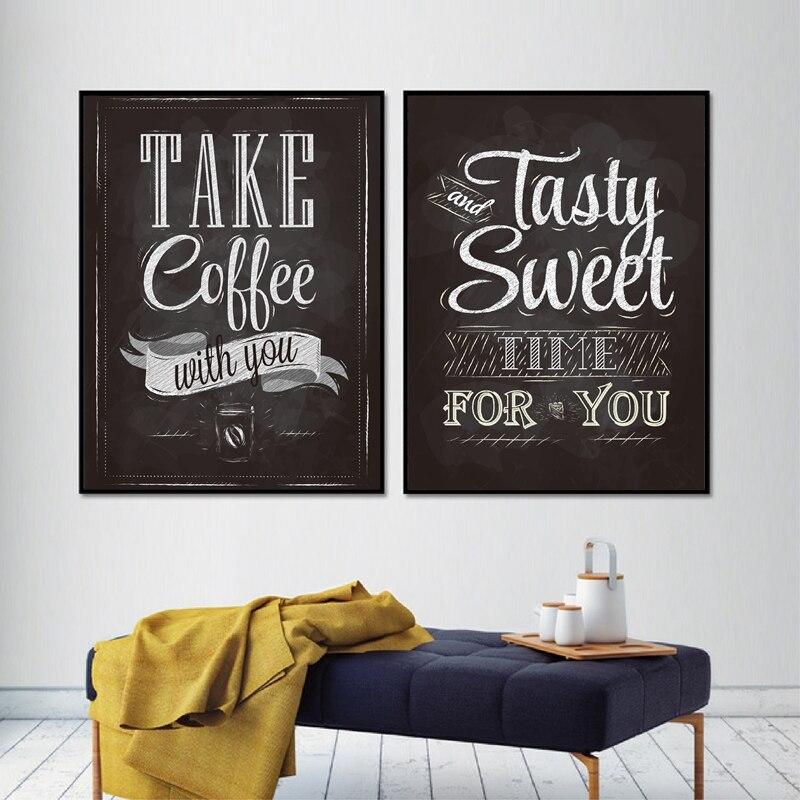 Nehmen Kaffee Mit Sie Drucke Tafel Vintage Stil Poster Schriftzug Café Café Wand Kunst Bild Decor Leinwand Malerei