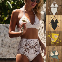 Beach Womens Handmade Crochet Bikini Set Sexy High Waist Swimwear Push up Swimsuit Bathing Suit