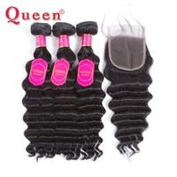שיער חבילות עם סגירת שיער אדם מלכת מוצרים Loose עמוק יותר גל ברזילאי שיער Weave חבילות 4 יחידות מחיר גורף