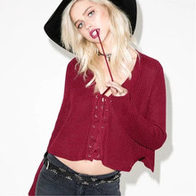 594972d849 Women Vintage Lace Up Sweater Autumn Winter Loose Knitted V Neck Sweaters  Sexy Cropped Pullover Long
