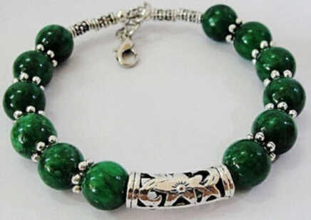 DYY 0002 +++ที่ทำด้วยมือที่สวยงามเงินทิเบตสีเขียวหินสร้อยข้อมือ