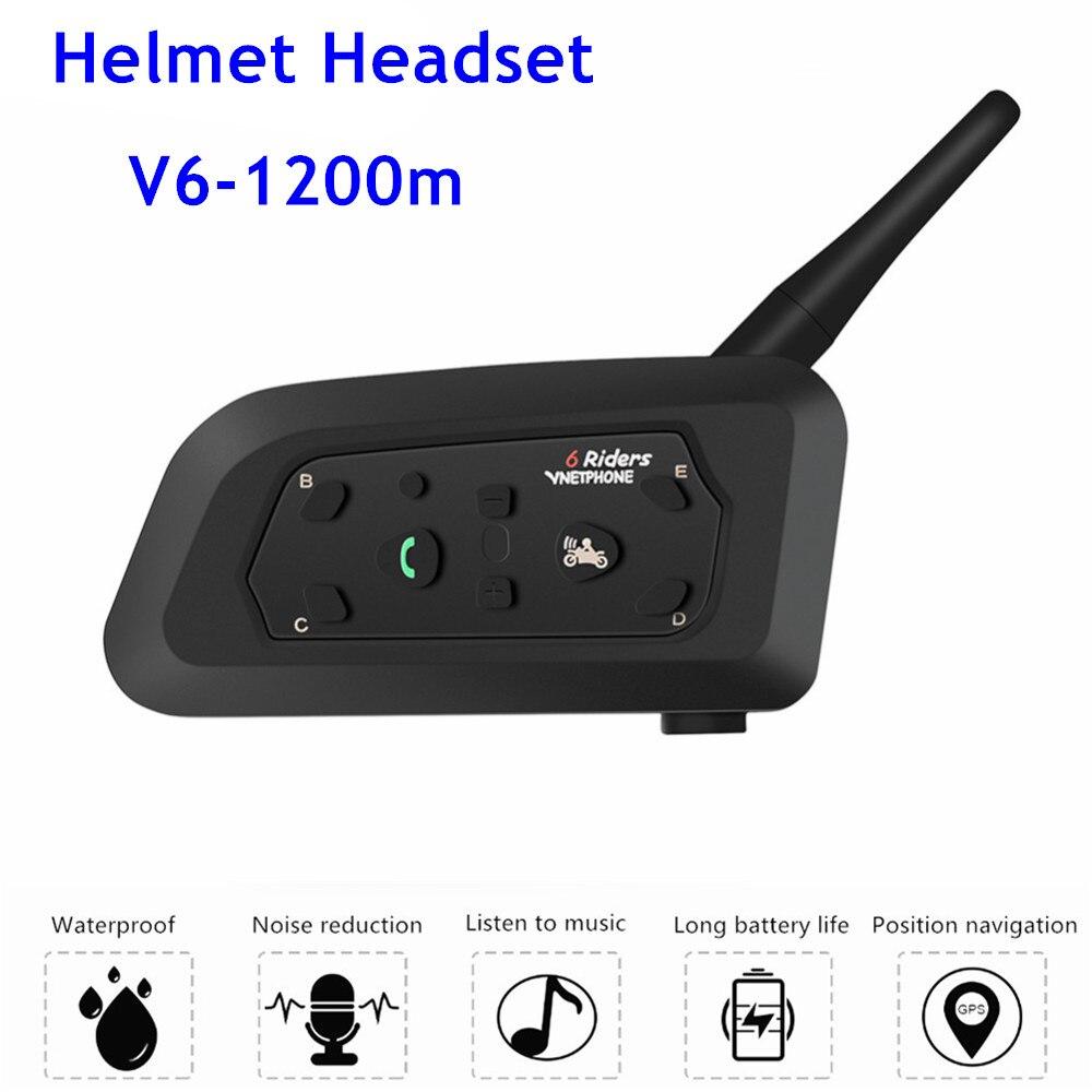 1200m Wireless Motorcycle Intercom Bluetooth Helmet Headset Intercomunicador Interphone For 6 Riders Waterproof Helmet Intercom