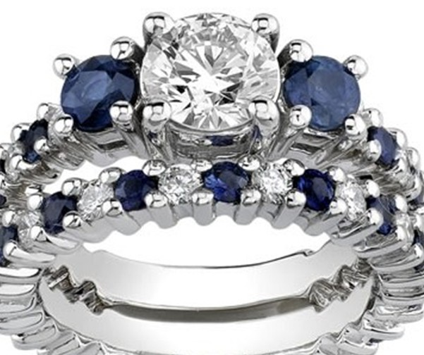 White Gold Synthetic Diamond & Sapphire Engagement Set Rings