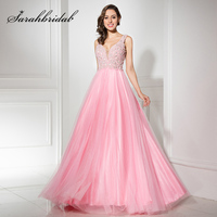 Cheap On Sale Pink A Line Evening Dresses With Luxury Heavy Pearls Beading Sexy Deep V