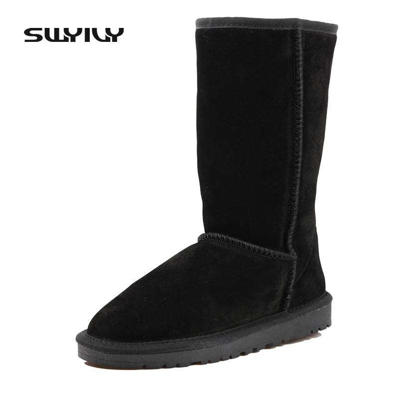 Snow Boots High Quality Women High Boots Genuine Cow Leather Winter Shoes Botas Femininas Large Size 40-45 ugz quality women winter boots genuine leather black snow boots high waterproof tall warm shoes botas feminina inverno