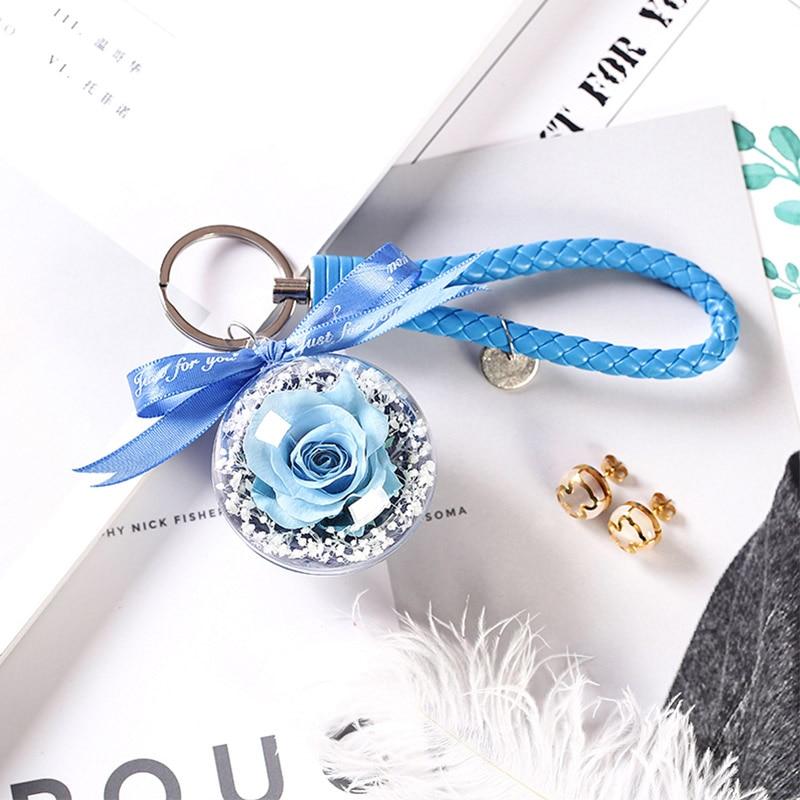 Новинка, красивая и чудовищная Роза в стеклянном куполе, светодиодный светильник, украшение для дома на День святого Валентина, рождественские подарки - Цвет: Blue 2 Keychain