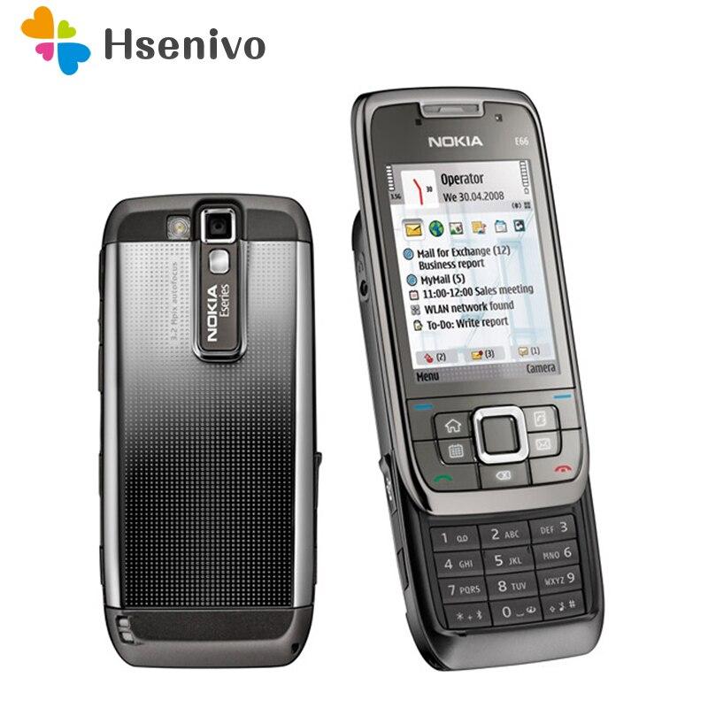 Reconditionné E66 Original débloqué téléphone Nokia E66 GSM WCDMA WIFI Bluetooth 3.15MP caméra téléphones portables livraison gratuite