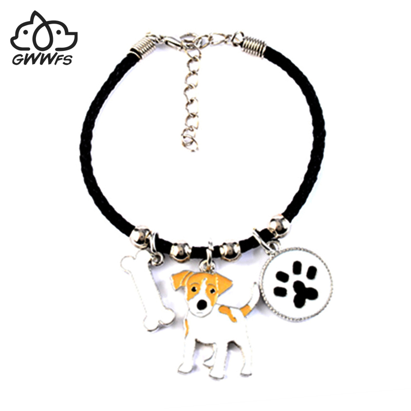 JACK RUSSELL TERRIER charm <font><b>bracelets</b></font> for women girls men rope chain silver color <font><b>dog</b></font> pendant male female <font><b>bracelet</b></font> bijoux femme image