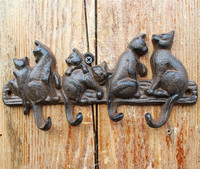 Cast Iron Decorative 6 Cats Coat Rack with 4 Hooks Key Hanger Holder Home Garden Wall Decor Gardening Animal Vintage Brown Retro