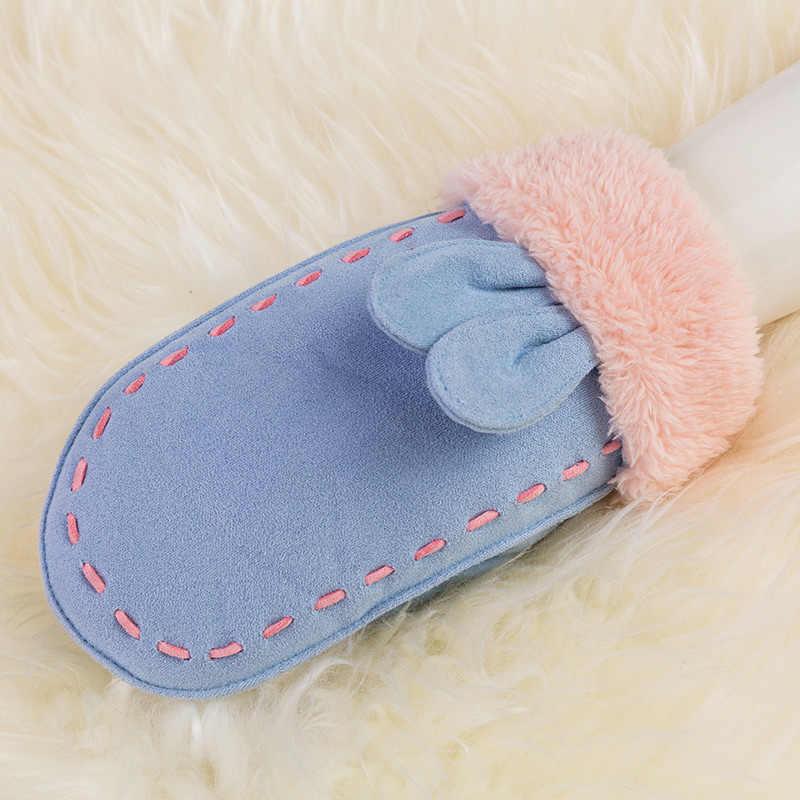 REALBY Luvas de invierno GlovesFor niños mitones chico invierno muñeca GlovesCute Orejas de conejo completa FingerGants Enfants Hiver 5 colores