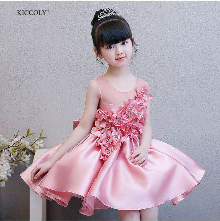 KICCOLY Pink Girl Applique New Dress 2018 Tulle Sleeveless Kid Dress Girls Clothes Party Princess Vestidos 2-14T Birthday Gown kiccoly 2018 elegant baby girl dress tulle beaded round neck sumdress for girls pink sleeveless dress big bow princess clothing