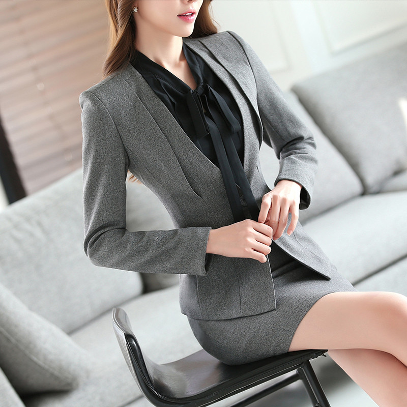 Gray-Two-Piece-Ladies-Formal-Skirt-Suit-Office-Uniform-Designs-Women-Business-Suits-for-work (4)