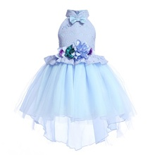 Girls High-end Drag-tail Lace Beauty Ball Dress Fashion Elegant Flower Girl Prin