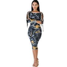 2019 new womens dress fashion print sexy ribbon strapless slim