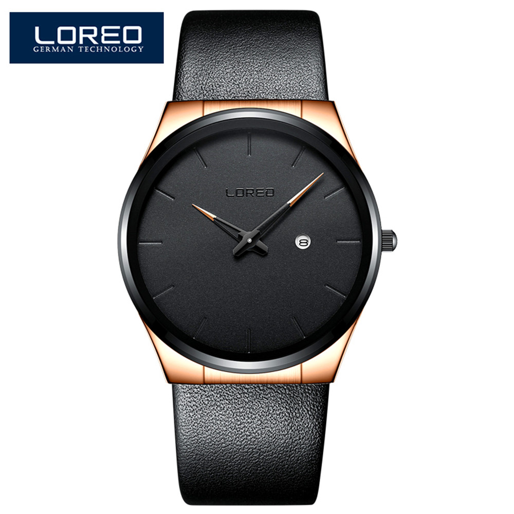 LOREO 2018 Mens Watches Top Brand Luxury 6.5MM Ultra-thin Dial Genuine Leather Strap Watch Men Fashion Simple Relogio Masculino loreo 2017 ultra thin dial mens watches top brand luxury genuine leather strap quartz watch men fashion relogio masculino m29