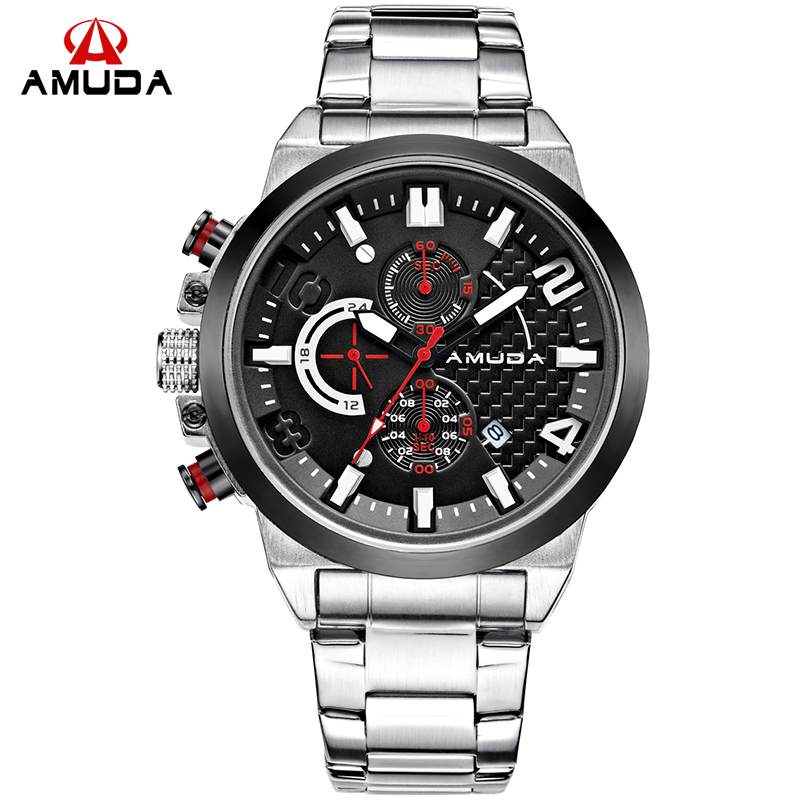 2018 AMUDA Men Creative Fashion Business Golden Quartz-Watch Full Steel Waterproof Sports Watches Clock Male Relogio Masculin 2018 amuda gold digital watch relogio masculino waterproof led watches for men chrono full steel sports alarm quartz clock saat