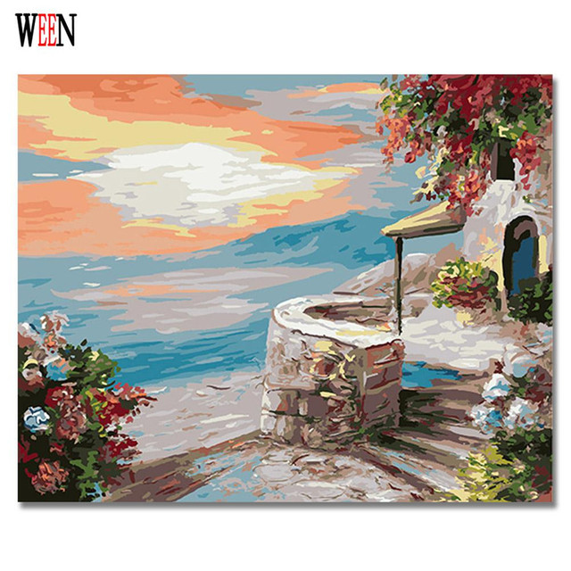 Diy Canvas Art For Living Room Decor Gray Couch Ween Greece Landscape Painting By Numbers Digital Wall Picture Castle Coloring Artwork