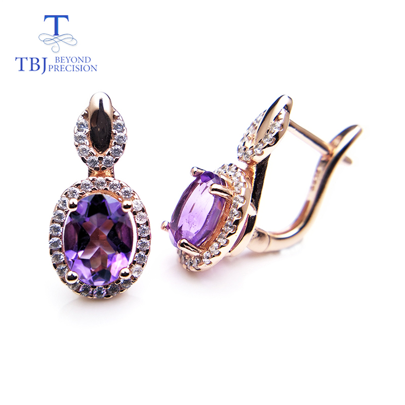TBJ,2019 Natural african amethyst gemstone clasp earring solid 925 sterling silver yellow gold color shiny gift for women girlsTBJ,2019 Natural african amethyst gemstone clasp earring solid 925 sterling silver yellow gold color shiny gift for women girls