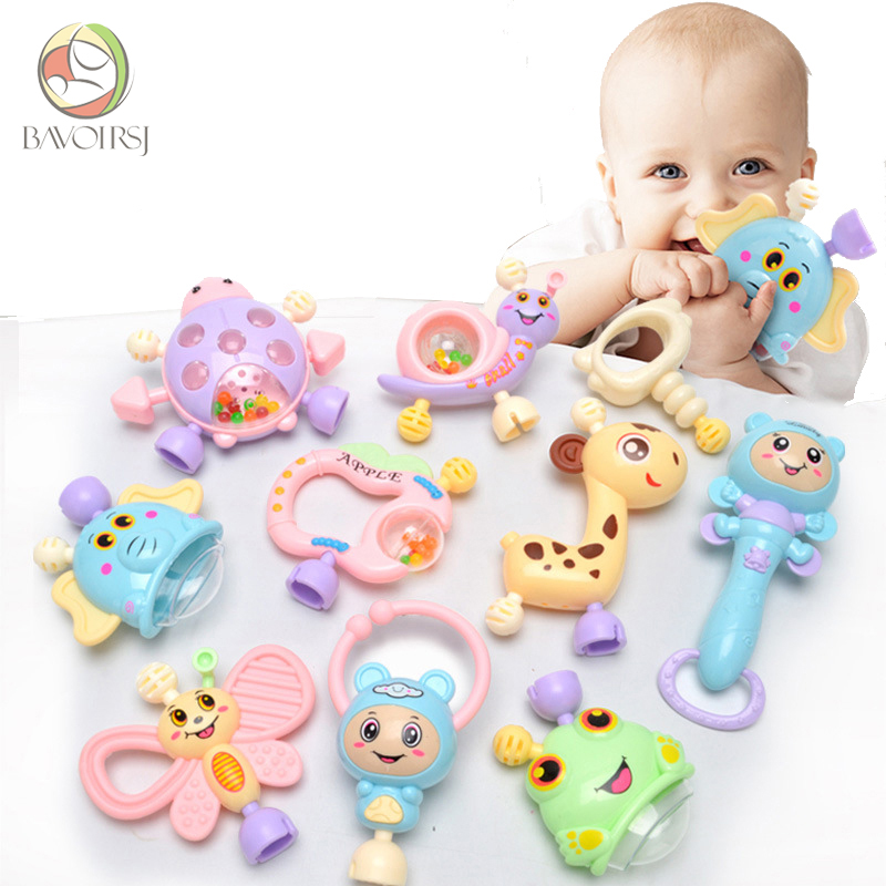 6pc-10pc/Set Colorful Montessori Toys Teething Kids Educational Crib Mobiles Baby Teether Toy For Girls Waldorf Rattle Toy T0051(China)