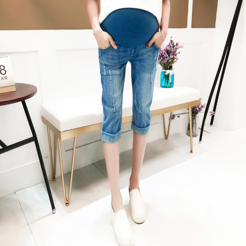 Summer Pregnant Women Fashion High Waist Vintage Cuffs Washed Denim Capri Pants Maternity Casual Jeans Trousers 3-9 Months Hot футболка lin show 367