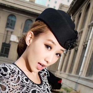 Image 2 - Fibonacci Fedora moda Vintage cappello di feltro di lana donna elegante berretto piume hostess cappelli Fedora chiesa cappelli formali da donna