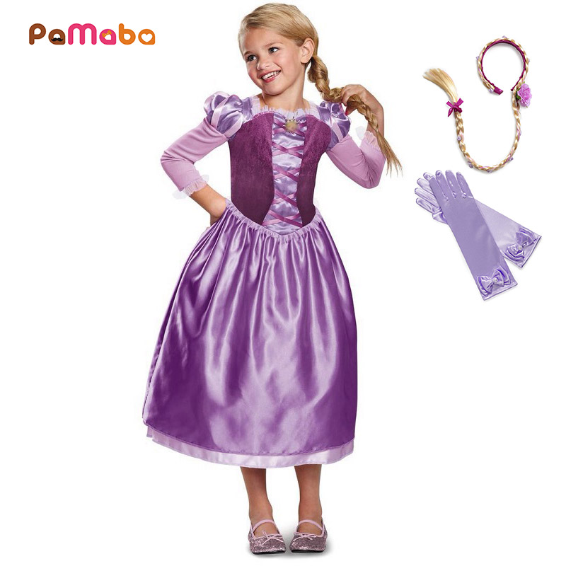 PaMaBa Little Girls Tangled Princess Dress up Outfit Kids Rapunzel Halloween Cosplay Dresses Filles Birthday Party Vestidos Robe pamaba children comic con cosplay equipment accessories girls mermaid wig halloween princess dress up human hair party supplies