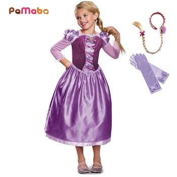 PaMaBa/платье принцессы для маленьких девочек; наряд Рапунцель; платье для костюмированной вечеринки на Хэллоуин; платье для дня рождения