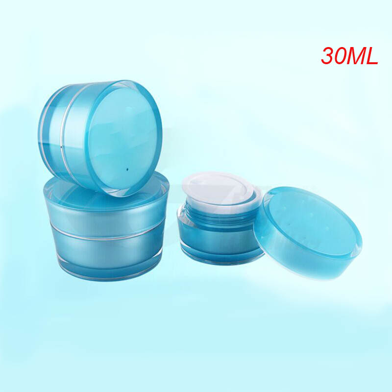 100pcs 30g blue acrylic cone shape cream jar with silver line, 1ounce cosmetic container ,plastic cream jar Cosmetic Packaging