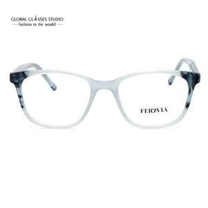 Image 5 - Moda itália design óculos para mulher azul preto acetato óculos de armação óptica óculos de lente limpa fvg7096