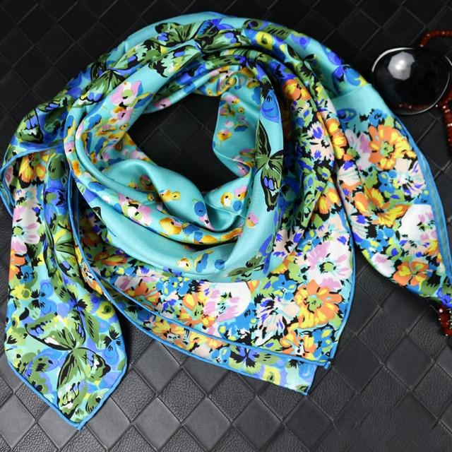 100% Шелка печати Twill шелковый шарф 90x90 см Женщины Шарфы 2017 Весной Женщины Шарф Люксовый Бренд Платки обертывания SC