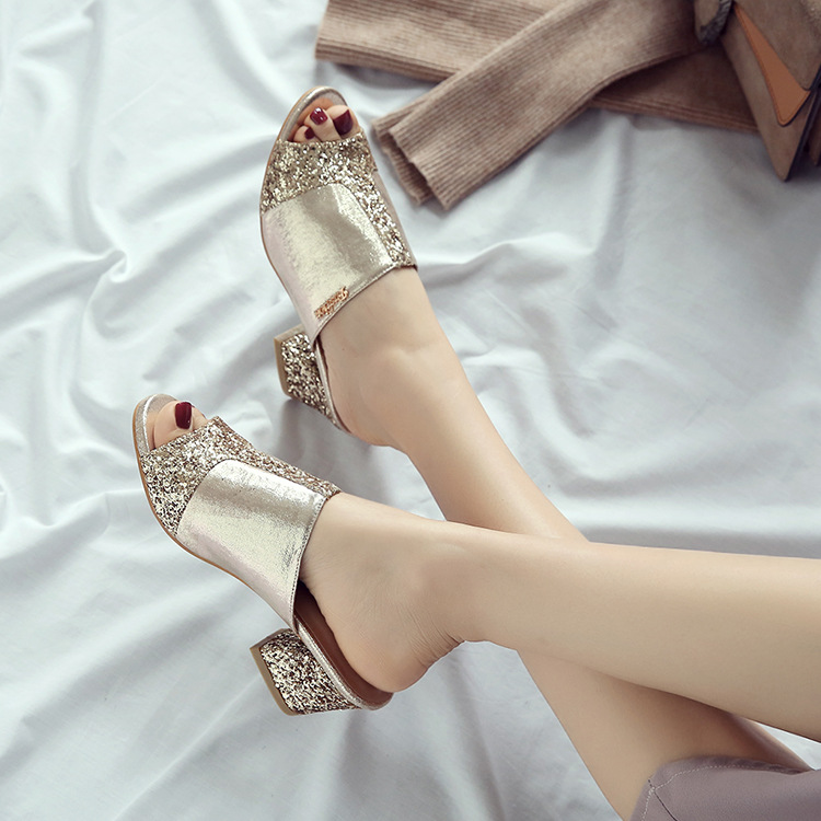 4172G Casual fish mouth thick with sequins shoes women with comfortable and breathable4172G Casual fish mouth thick with sequins shoes women with comfortable and breathable