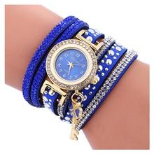 FULAIDA Wrap Womens Watch Fashion Weave Leather Bracelet Key Pendant Women Wrist Watches Quartz Analog Watch Blue