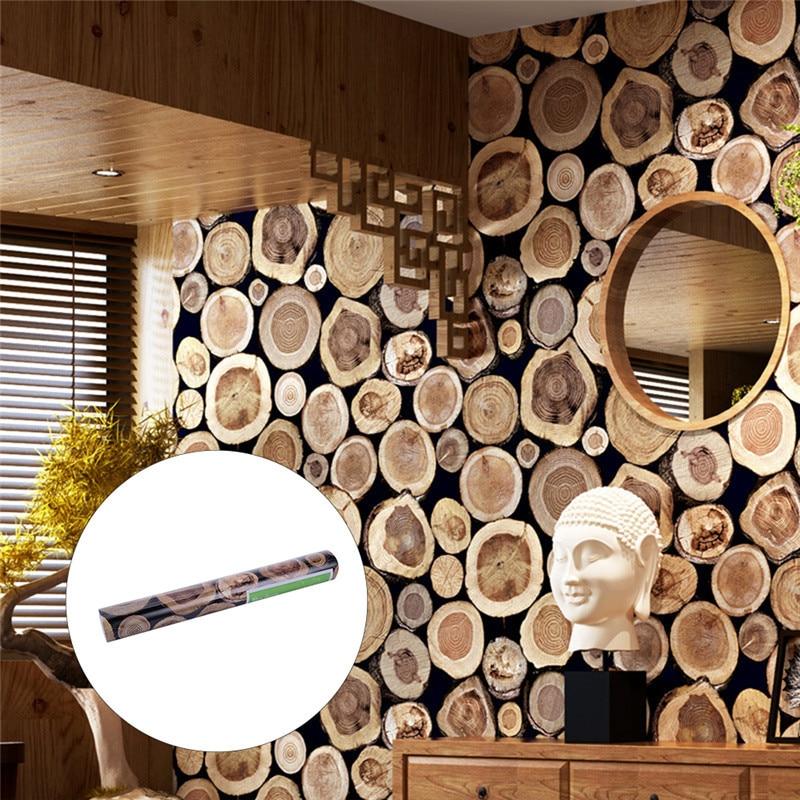53x1000cm Super Thick 3D Wood Log Texture Embossed PVC Waterproof Wall Paper Living Room Desktop Wallpaper Mural Papel De Parede